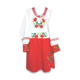 Детское вышитое платье, машинная гладь + кружево. Габардин или габардино-лён