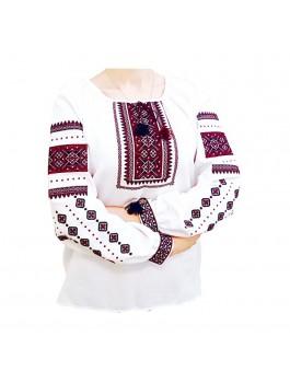 Вышиванка женская, машинная вышивка, крестиком. Домотканое полотно