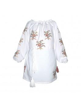 Детская вышитая блузка, машинная вышивка. Шифон