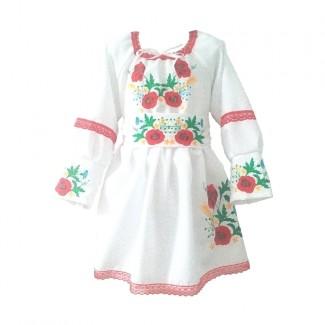 Детское вышитое платье, машинная вышивка. Габардин или габардино-лён.