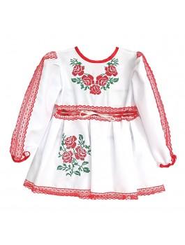 Детское вышитое платье, машинная вышивка гладью с кружевами. Габардин