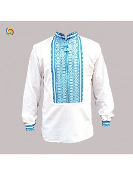 Вишиванка чоловіча біла, машинна ткана вишивка. Домоткане полотно або льон