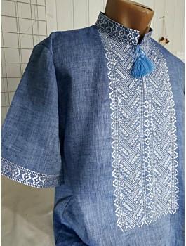 Вишиванка чоловіча блакитна, машинна вишивка, хрестиком. Домоткане полотно, джинс-льон або льон