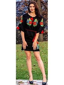 Сукня вишита, машинна вишивка, гладдю. Домоткане полотно, льон або габардин