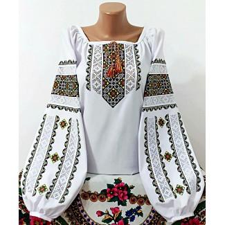 Вишиванка жіноча біла, машинна вишивка + мережки, хрестиком. Домоткане полотно