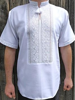 Вишиванка чоловіча білим по білому, ручна робота, лічильною гладдю. Домоткане полотно або льон
