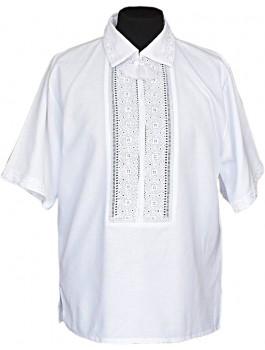 Вишиванка чоловіча білим по білому, ручна робота. Домоткане полотно або льон