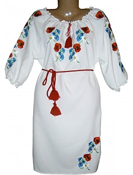 Сукня вишита біла, машинна вишивка гладдю. Габардин або домоткане полотно