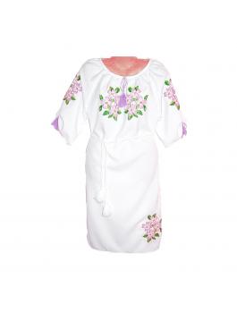 Женское платье, машинная вышивка крестиком. Габардин или домотканое полотно белое