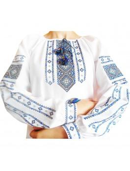 Вышиванка женская, машинная вышивка крестиком. Домотканое полотно, габардин или лён