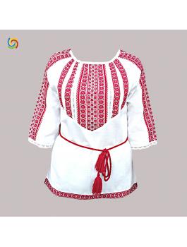 Вишиванка жіноча біла, машинна ткана вишивка, хрестиком + мереживо. Домоткане полотно або льон