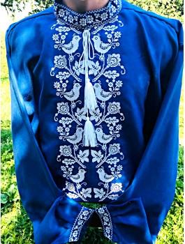 Вишиванка чоловіча синя, машинна вишивка, хрестиком. Домоткане полотно