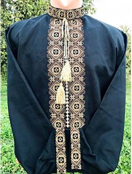 Вишиванка чоловіча чорна, машинна вишивка, хрестиком. Льон або домоткане полотно