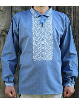 Вишиванка чоловіча блакитна, машинна вишивка, гладдю. Домоткане полотно, джинс-льон або льон