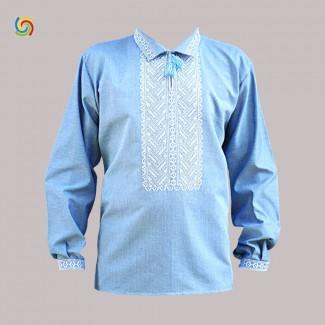 Вышиванка мужская голубая, машинная вышивка гладью. Домотканое полотно, джинс-лён или лён