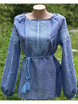 Вишиванка жіноча синя, машинна вишивка, гладдю. Джинс-льон або домоткане полотно під джинс