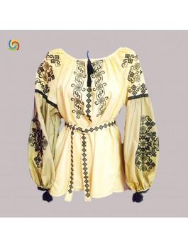 Вишиванка жіноча жовта, машинна вишивка, хрестиком. Габардин, льон або домоткане полотно