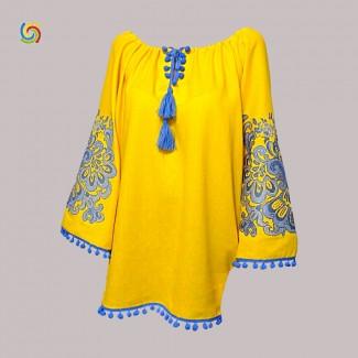 Вышиванка женская жёлтая, машинная вышивка крестиком. Габардин, лён или домотканое полотно