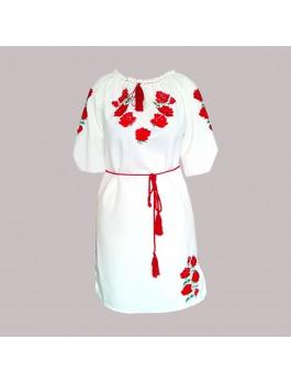 Сукня вишита, машинна вишивка, гладдю. Габардин, домоткане полотно або льон