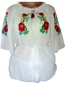Вишиванка жіноча, машинна вышивка, гладдю. Шифон або габардин