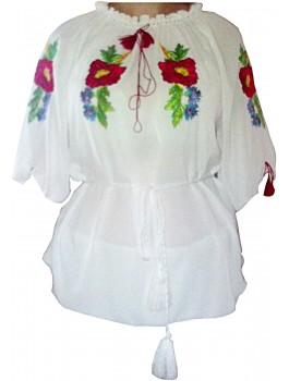 Вишиванка жіноча біла, машинна вишивка, гладдю. Шифон або габардин