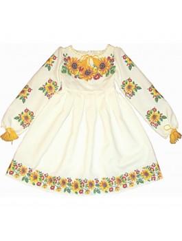 Детское вышитое платье машинная крестиком. Габардин