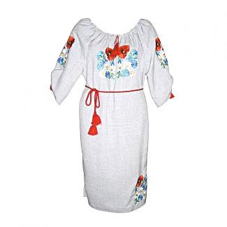 Вышитое платье женское, машинная гладь. Габардин