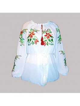 Вышиванка женская, машинная вышивка гладью. Шифон или габардин