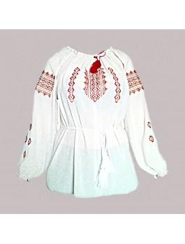 Вишиванка жіноча біла, машинна вишивка, хрестиком. Шифон або габардин