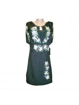 Платье вышитое черное женское, машинная гладь. Лён или габардин