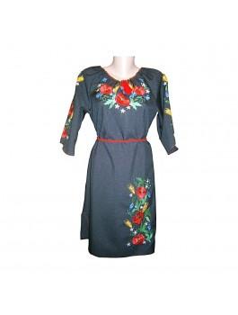 Платье вышитое женское чёрное, машинная гладь. Лён или габардин