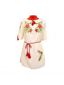 Платье вышитое женское, машинная гладь. Габардин или домотканое полотно