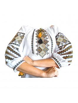 Вышиванка женская, машинная вышивка, крестиком. Домотканое полотно, габардин, поплин или лен