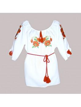 Сукня вишита біла, машинна вишивка, гладдю. Габардин або шифон