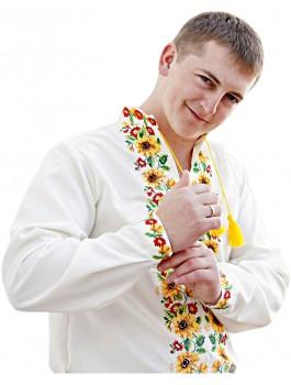 Вишиванка чоловіча біла, машинна вишивка, хрестиком. Габардин, габардино-льон, домоткане полотно або льон