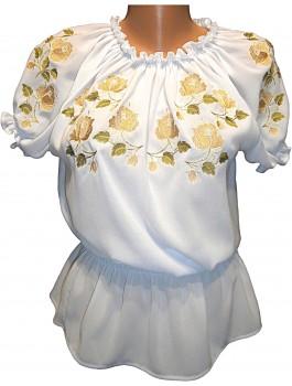 Вишиванка жіноча біла, машинна вишивка, гладдю. Шифон
