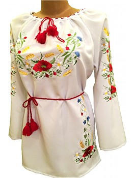 Вишиванка жіноча біла, машинна вишивка, гладдю. Габардин або льон