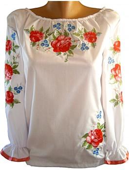 Вишиванка жіноча біла, машинна вишивка, гладдю. Поплін, шифон, габардин або льон