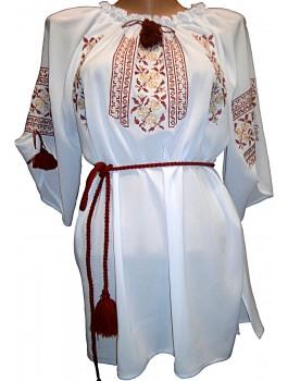 Сукня вишита біла, машинна вишивка, хрестиком. Шифон, домоткане полотно або льон