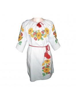 Платье вышитое женское, машинная крестиком. Габардино-лён или габардин