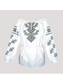 Вишиванка жіноча біла, машинна вишивка, хрестиком. Домоткане полотно або льон
