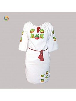 Сукня вишита біла, машинна вишивка, гладдю. Габардин або домоткане полотно
