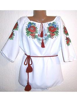 Вишиванка жіноча біла, машинна вишивка, гладдю. Габардин або домоткане полотно