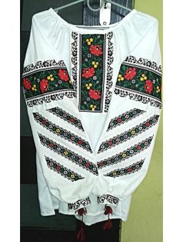 Вишиванка жіноча біла, машинна вишивка, хрестиком. Домоткане полотно