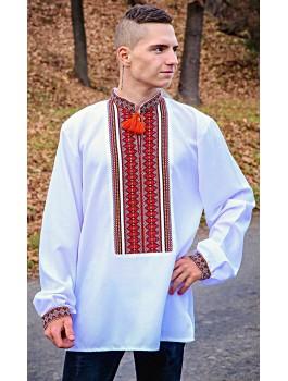 Вишиванка чоловіча біла або сіра, машинна ткана вишивка. Домоткане полотно або льон