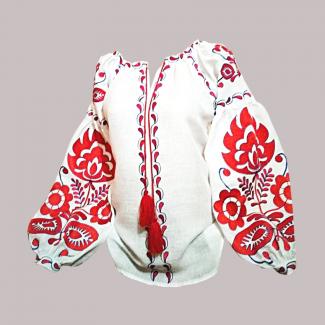 Вышиванка женская, машинная вышивка гладью. Домотканое полотно, лён или габардин