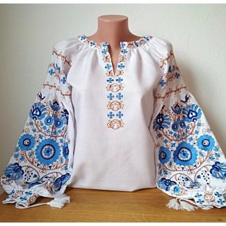 Вишиванка жіноча біла, машинна вишивка гладдю. Домоткане полотно, льон або габардин