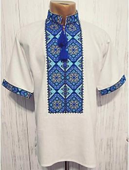 Вишиванка чоловіча, машинна вишивка хрестиком. Домоткане полотно або льон