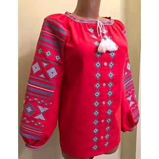 Вишиванка жіноча червона, машинна вишивка, гладдю. Домоткане полотно, льон або габардин