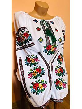 Вишиванка жіноча, машинна вишивка, хрестиком. Домоткане полотно або льон